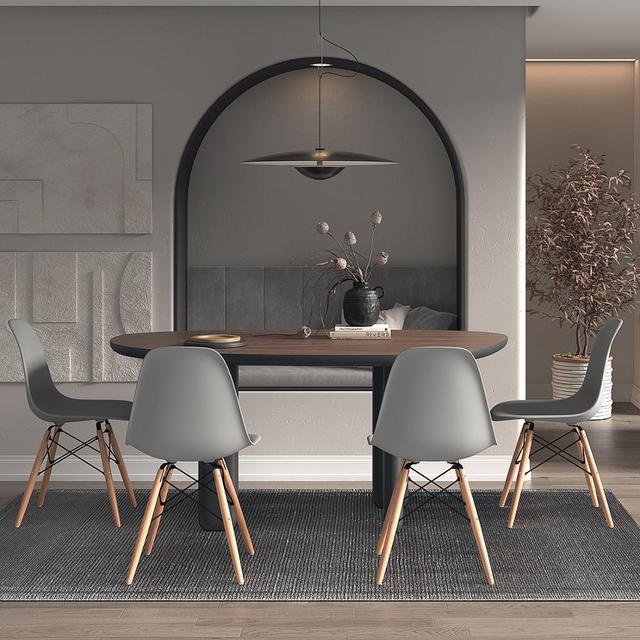 Grey 4Pcs/Set Dining Chairs Modern Leisure Bar Chair with Solid Wood Legs Office Chair Home Furnitures Comference Chairs 6