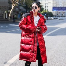 Luxury Glossy 2020 Winter Jacket Women Long Hooded Thick Warm Down Padded Parka