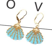FAIRYWOO Bohemian Shell Drop Earrings Blue Stone Women Miyuki Glass Bead Jewelry Delica Popular Accessories Wholesale