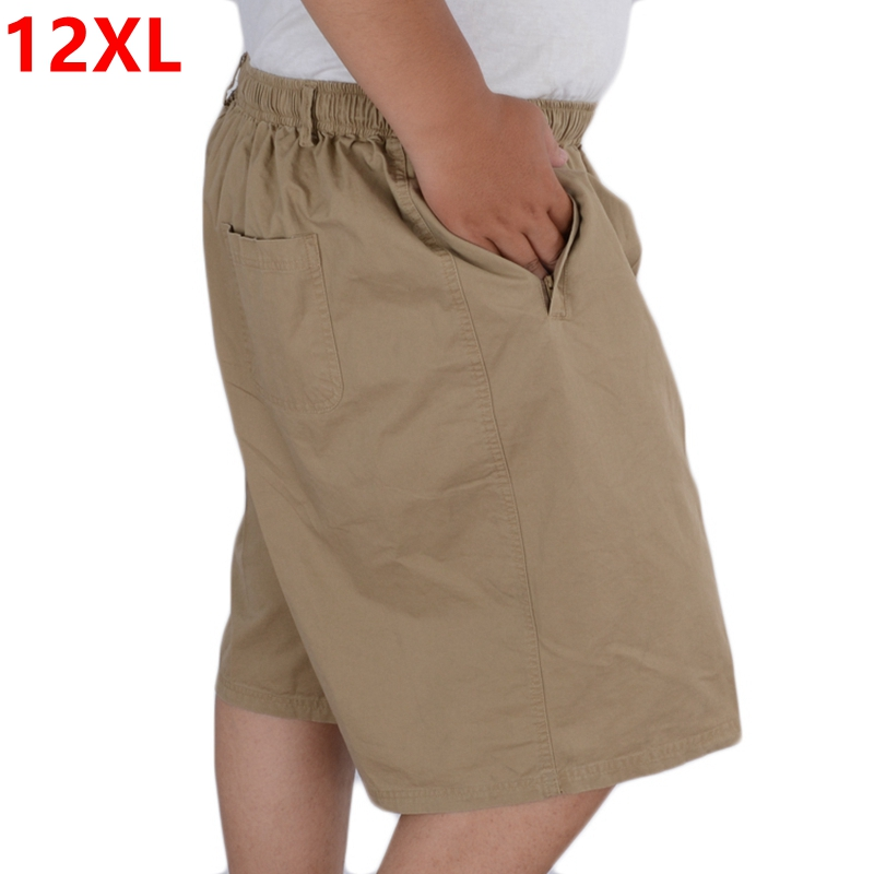 Men's Summer Plus Size Cotton Shorts Pocket With Zipper Knee Length Big Yards Casual Shor High Waist Oversize 10XL 11XL 12XL