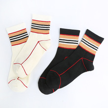 New Style B Home Celebrity Style Khaki Stripe Children Crew Socks Occident Fashion Cotton Men And Women Children's Socks Versati