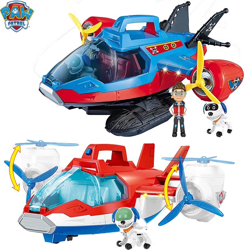 Large Toy Paw Patrol Music Rescue Plane Juguetes Toy Patrulla Canina Robot Dog ABS Action Figure Birthday Gifts For Boy And Girl