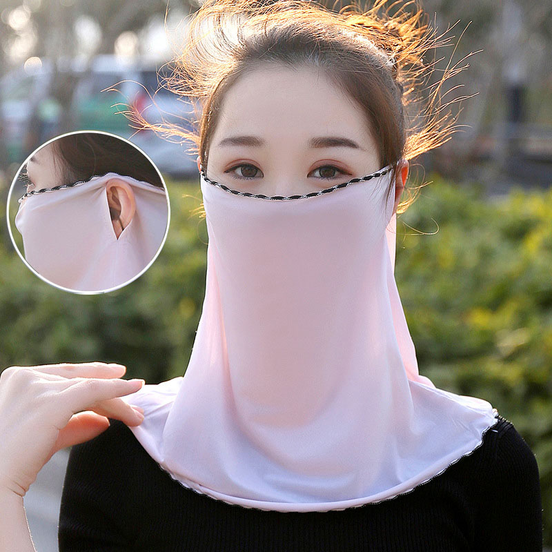 Summer Sunscreen Face Mask Sunshade Neck Women's Scarf Ice Silk Outdoor Sun UV Protection Cycling Facescarf Breathable Dustproof