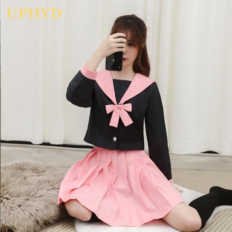 UPHYD Korean School Girl Uniform Pink Black Splice Tops Pleated Skirt Sets Japanese Chorus Performance Sailor Uniforms