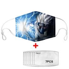7Pcs PM2.5 Filter Gas Masks Dragon Ball Women Men Anti-dust Masks Fashion Washable Reusable Face Mask Non-disposable Moth Mask