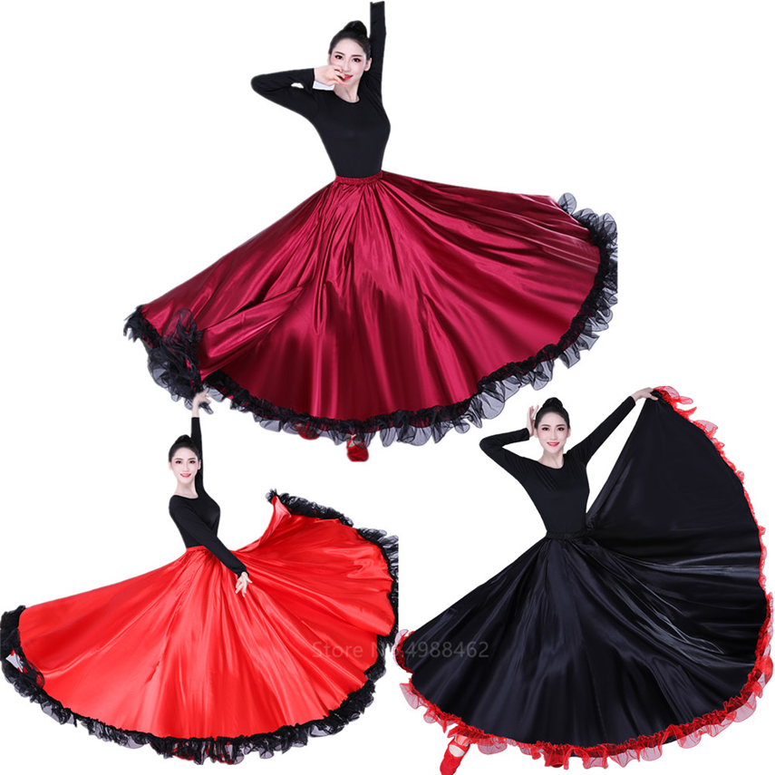 Woman Spanish Bullfight Flamengo Skirt Gypsy Belly Ballroom Dance Costume Female Stage Team Competition Flamenco Skirts