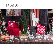 Laeacco Photo Backdrops Christmas Tree Reindeer Pillow Gift Wooden House Porch Photography Backgrounds Photocall Studio