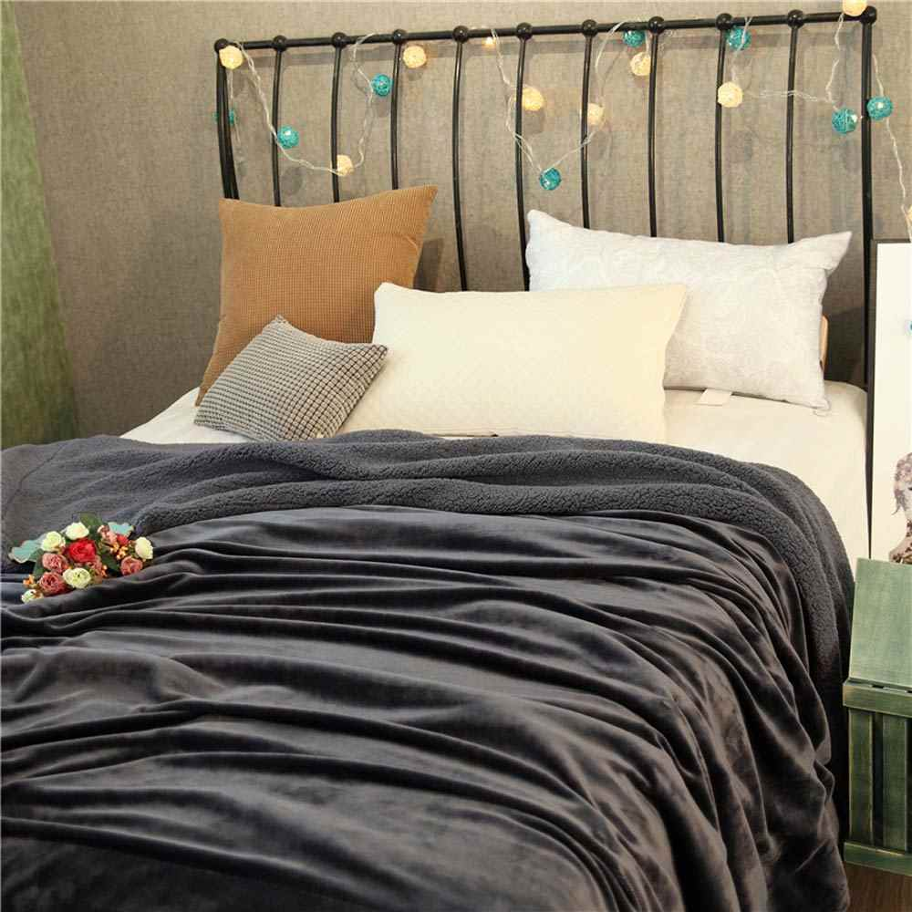 Solide Tiefem Grau Winter Dicke warme Wirft Plaids doppelseitige Decke Sherpa Berber Fleece Stoff Bettwäsche Bettdecke