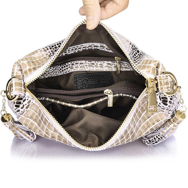 ريالر جلد طبيعي المرأة حقيبة يد التمساح نمط حقيبة جلدية رفرف حقيبة كتف الإناث مع شرابة السيدات حقيبة ساعي