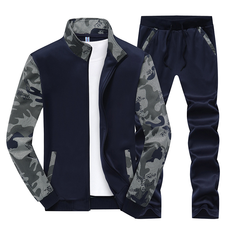 Men Spring And Autumn New Style Korean-style Thin Elasticity Students Outside Set Men's Teenager Casual Sports Hoodie Suit