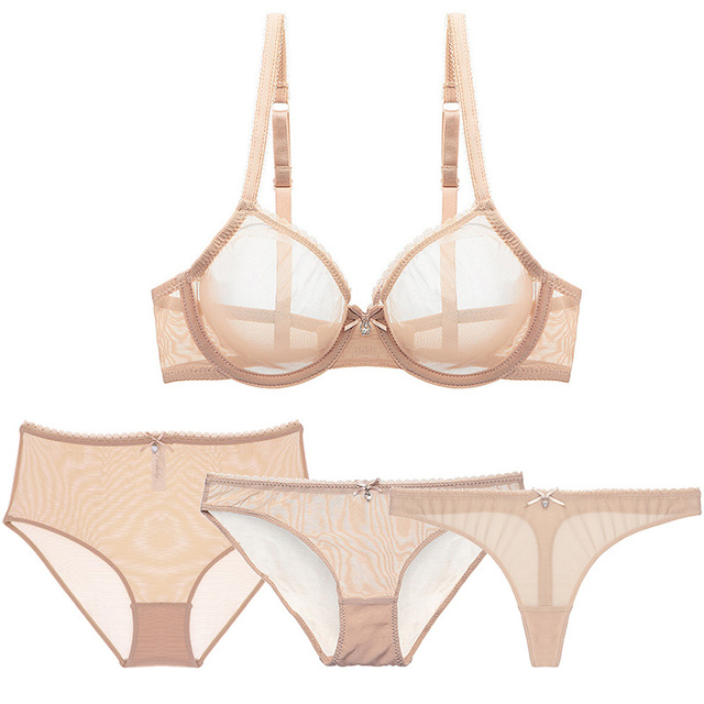 Varsbaby sexy transparent underwear set 4pcs bras+panties+thongs+high waist briefs for women 2