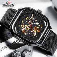 HAIQIN Mens Watches 톱 브랜드 럭셔리 중공 골격 기계식 시계 남성용 군용 스포츠 자동식 손목 시계 Montre Homme + Box