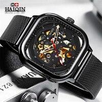 HAIQIN męskie zegarki Top marka luksusowe Hollow szkielet mechaniczny zegarek mężczyźni wojskowy Sport zegarek automatyczny Montre Homme + Box