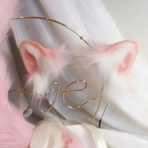 Image 1 - 新しいピンク猫耳コスプレカーニバルゴシックロリータアクセサリ髪フープ帽子ガール女性子供手作業