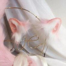New Pink cat ears Cosplay Carnaval Gothic Lolita Acessories Hair Hoop Headwear For Girl Women Kids Hand Work