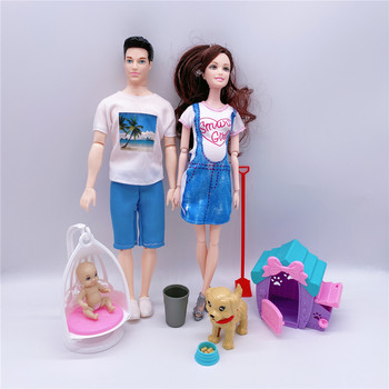 5-people-family-pregnant-mom-daddy-son-daughter-little-baby-puppy-dog-cage-doll-accessories-children-toy-combinati