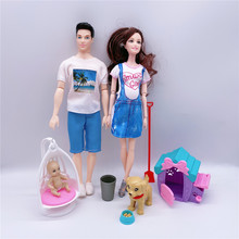 5 people family pregnant mom / daddy / son / daughter / little baby / puppy / dog cage / doll accessories children toy combinati dog people