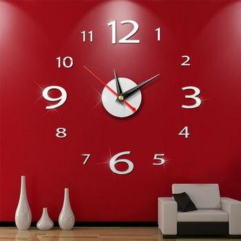 NEW 3D DIY Wall Clock Home Office Modern Decoration Crystal Mirror Vinyl Art Stickers Decals perfect diy 3d art wall clock decals breaking cracking wall clock sticker office home wall decor gift 15 x15
