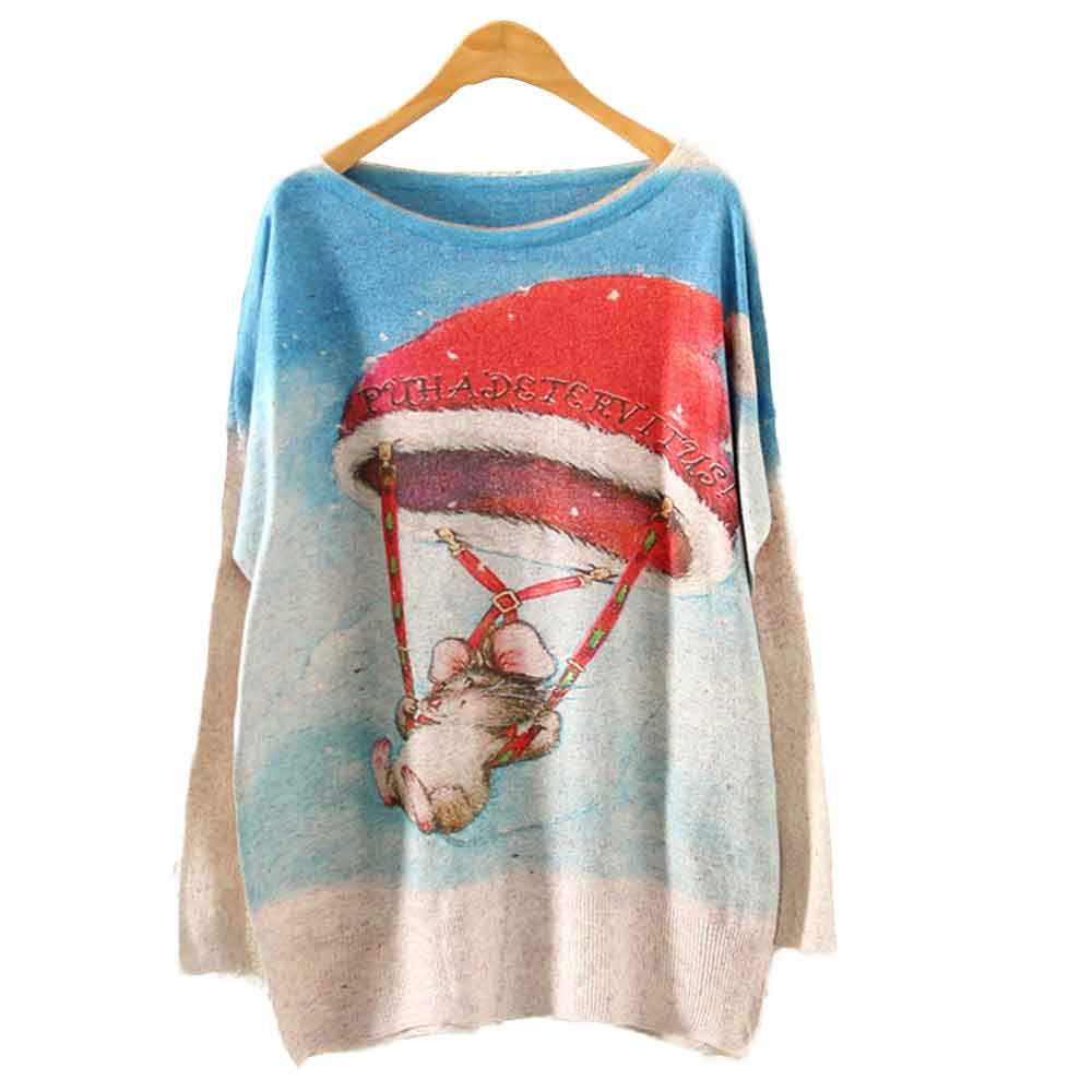 Womens Christmas Sweater Batwing Long Sleeve Loose Knit Wool Sweater Warm Pullover Tops بلوفر نسائي jersey leopardo mujer #D