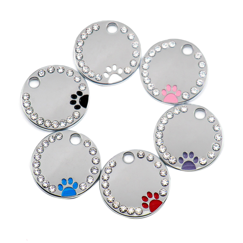 Offre spéciale 100 pièces strass cercle p-aw gravé Id chien étiquette en acier inoxydable bricolage chien Id étiquettes Pet Shop pour chien personnalisé (couleur