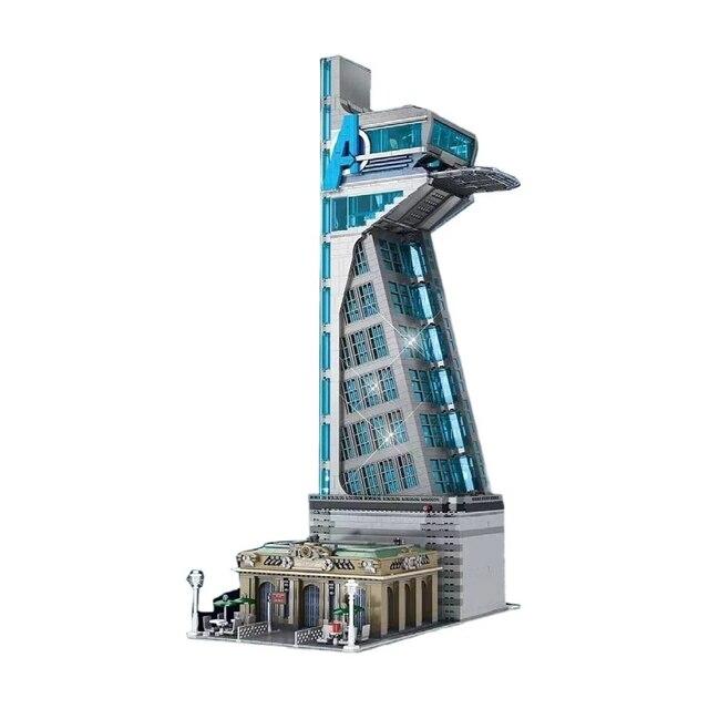 New 5883 PCS 55120 Hero Tower  Iron Tower Man Base Model with LED Lights  Building Block Bricks Toys Birthday Christmas Gifts 1