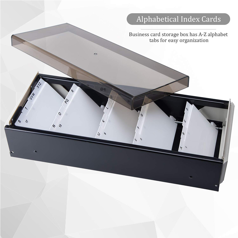 Image 4 - MyLifeUNIT 600 Cards Capacity Business Card Storage Box with A Z Index Business Card File Organizer with Removable Divider-in Card Holder & Note Holder from Office & School Supplies
