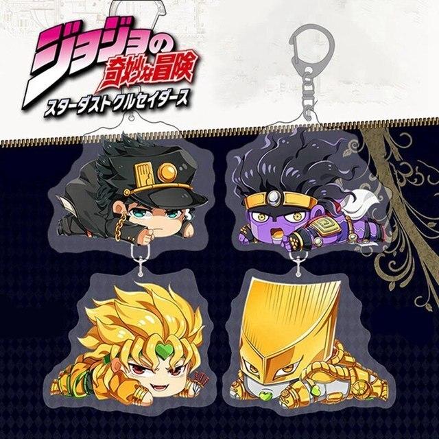 Anime Jojos Bizarre Adventure Keychain Acrylic Two-sided Figure Kujo Jotaro Yoshikage Caesar Keychain Collection Gift 2