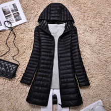 4XL Women's mid long down jacket thin and light slim wasit hooded fashion down coat white duck down jacket  S to 4XL nbike s 4xl cc1103 sj