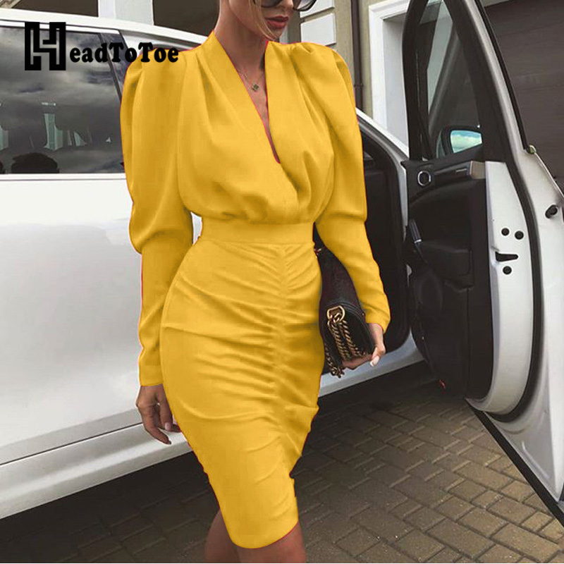 Long Sleeve V-neck Slim Waist Ruched Bodycon Dress Women Leg-of-Mutton Sleeve Plunge Party Dress Ladies Casual Solid Midi Dress
