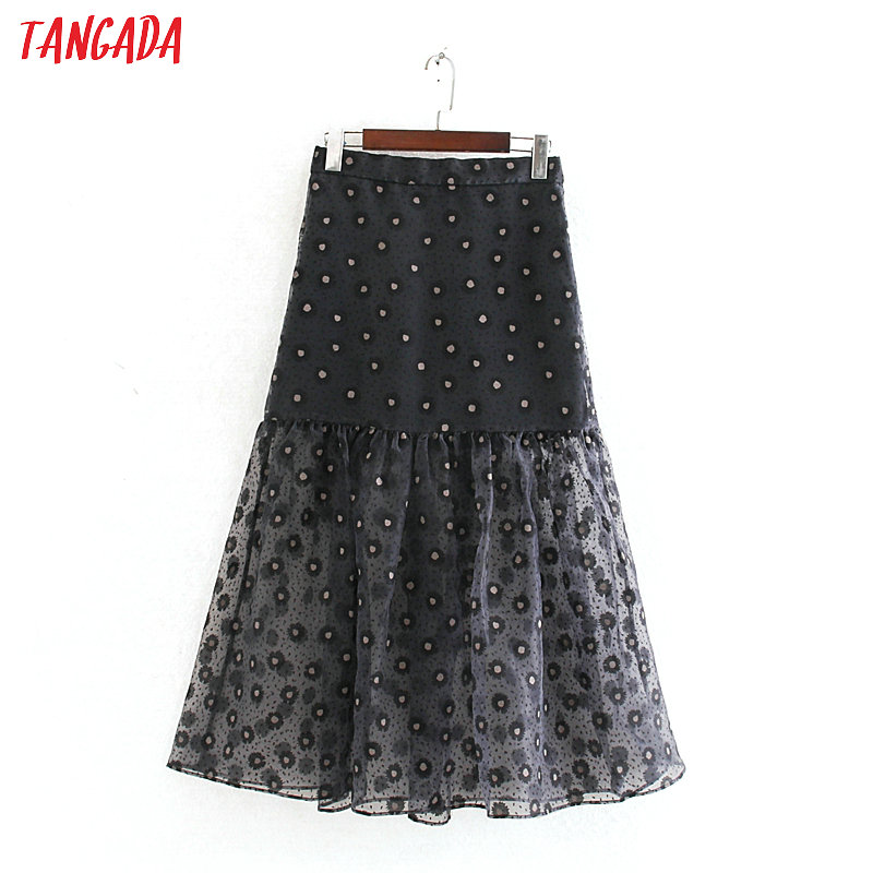Tangada Women Print Mesh Midi Skirt Faldas Mujer Vintage Side Zipper Ladies Casual Chic Mid Calf Skirts CE306