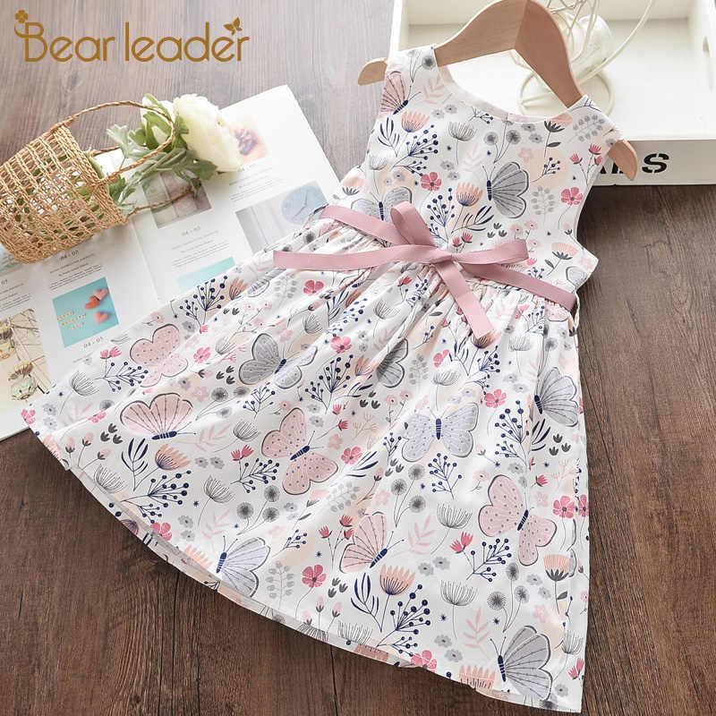 דוב מנהיג ילדה נסיכת שמלה חדש קיץ ילד בנות שמלה פרחוני מתוק ילדי מסיבת חליפות פרפר תלבושות ילדי בגדים