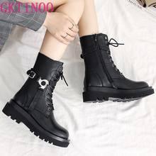 GKTINOO Echtem Leder Stiefeletten Frauen 2020 Britischen Stil Mode Beiläufige Kurze Stiefel Damen Motorrad Stiefel Frauen Schuhe