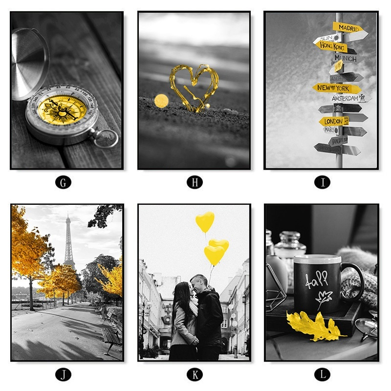 Hd3cd0f5790ca4f658cb2f54840ca2d521 Black and White Photograph Landscape Picture Home Decor Nordic Canvas Painting Wall Art Yellow Scenery Art Print for Living Room