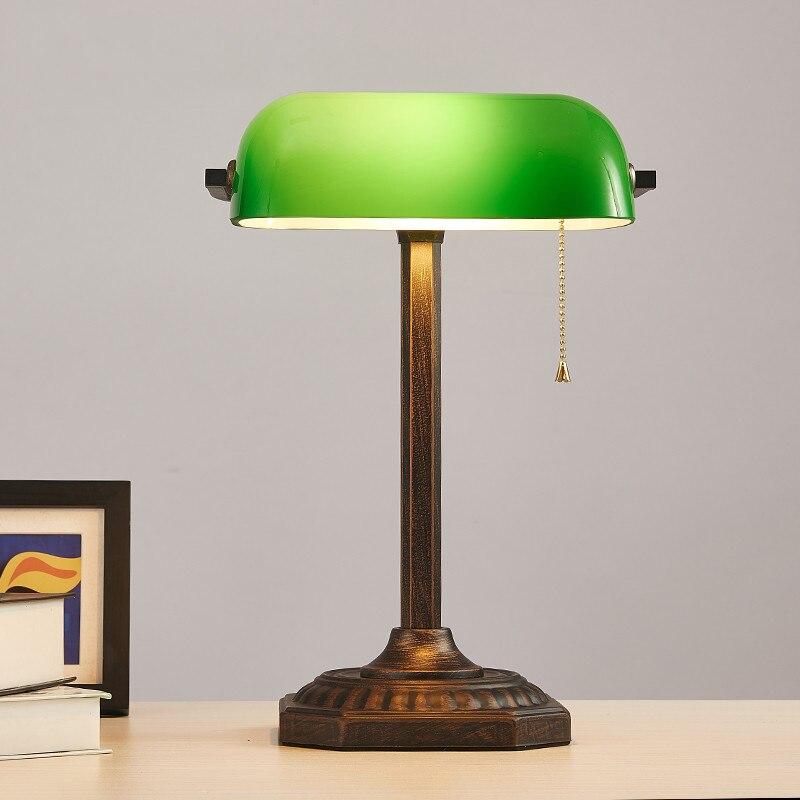 Винтажное китайское цветное стекло, пленка и телевизионная банка, настольная лампа для чтения, для учебы, для гостиной, спальни, офиса, декоративная настольная лампа - Цвет абажура: Green