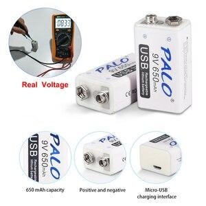 Image 5 - PALO 6pcs USB 9V 6F22 650mAh Rechargeable Battery 9 volt  fast charging lithium li ion li ion liion batteries