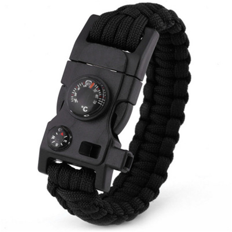 Multi Functional Emergency Paracord Bracelet Survival Parachute Without Flint Outdoor Scraper Whistle Buckle Jewelry Men Women