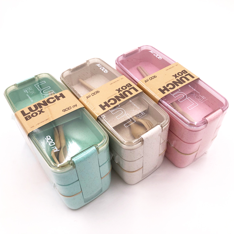 Lunch-Box Dinnerware Wheat-Straw Food-Storage-Container Microwave Healthy-Material 3-Layer