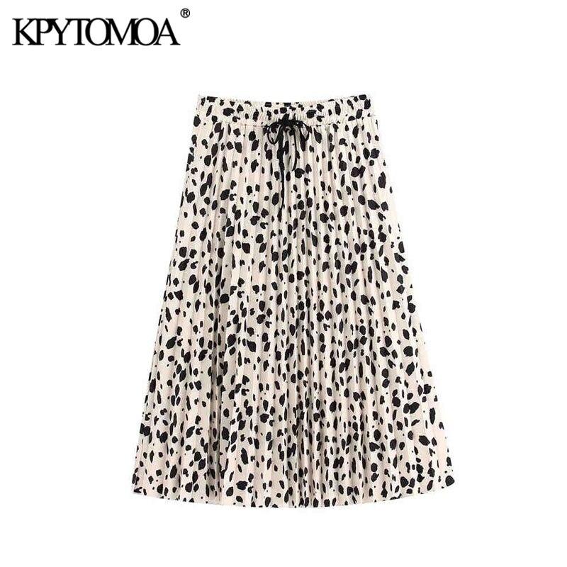 Vintage Elegant Print Pleated Midi Skirt Women 2020 Fashion High Elastic Waist Drawstring Office Wear Female Skirts Faldas Mujer