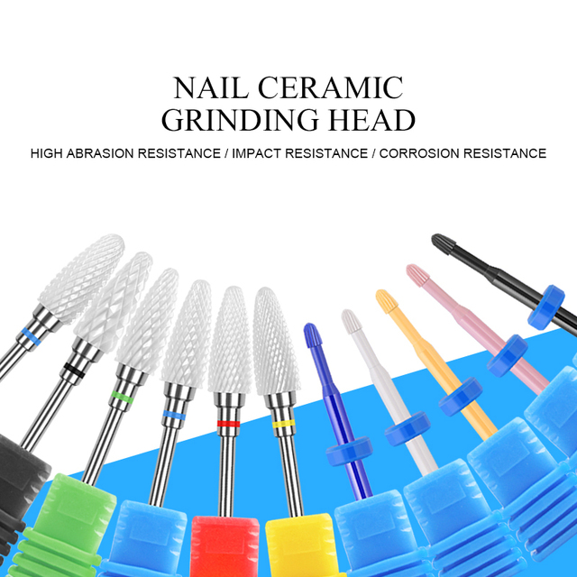 1 pc Ceramic Nail Drill Bits Milling Cutter for Manicuring Colorful Grinding Head Electric Nail File Buffer Nail Art Tools
