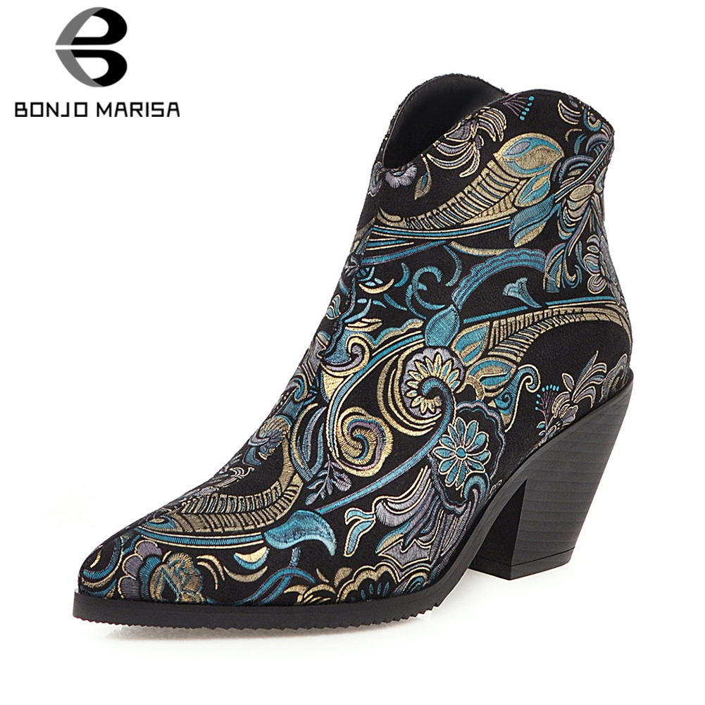BONJOMARISA New Winter Plus Size 33-46 Brand Designer Booties Lady Fashion Bling Ankle Boots Women Party High Heels Shoes Woman