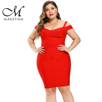 Maketina 2020 New Arrivals Off Shoulder Plus Size Bandage Dress Party Red XL Striped Bodycon