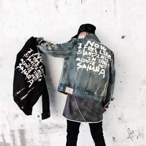 Image 1 - Джинсовая куртка модная трендовая Мужская куртка джинсовая куртка мужская одежда с принтом рваная одежда хлопковая джинсовая куртка S XL