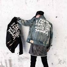 Jeans jacket fashion trend mens jacket denim jacket mens printed clothing ripped clothes cotton jeans jacket S XL