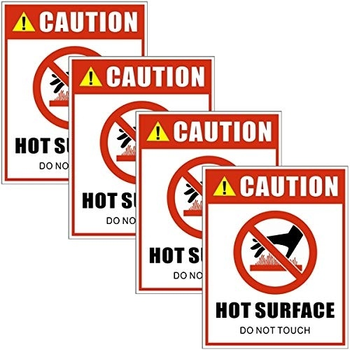 5 X 4 Danger Safety Warning Sign Vinyl Label Sticker Decal Outdoor//Indoor Back Self Adhesive Vinyl 4 Pack Caution Hot Surface Do Not Touch