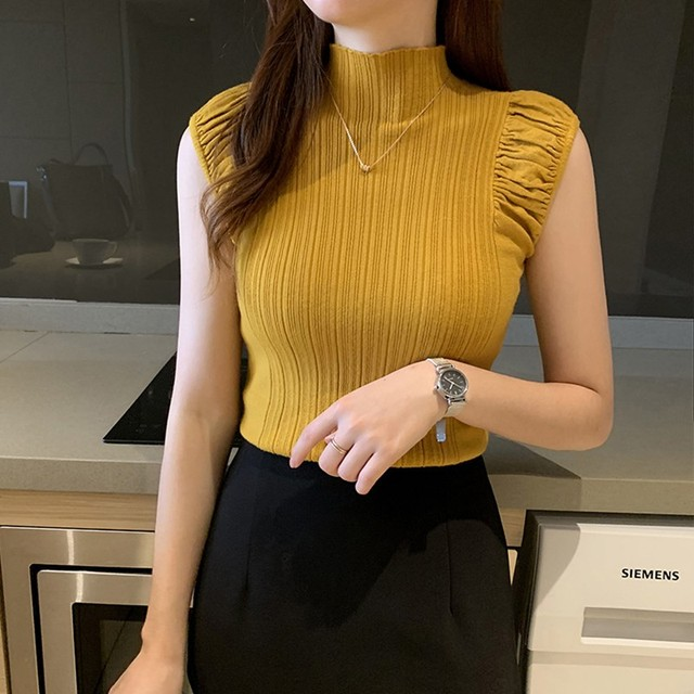 Women's T Shirt Fashion Sexy Slim Solid Bottoming Tops Casual Half Turtleneck Knitted Sleeveless T-Shirt 1