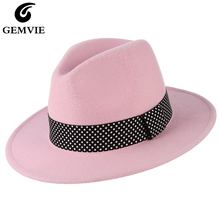 GEMVIE Women Pink Wide Brim Wool Felt Fedora Hats Classical Winter Panama Jazz Cap Printing Band Decor