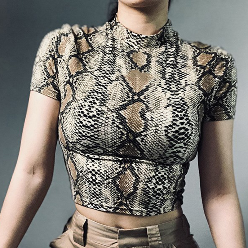 2019 Sexy Crop Top Women Snake Print Tank Top Slim Primer High Collar Vest Harajuku Crop Tank Top T Shirt Femme Girls Camis Tops