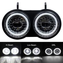 ل Buell XB نموذج 2003 2010 سنوات المزدوج LED العلوي الأبيض DRL استخدام دراجة نارية مجموعة مصابيح أمامية التوصيل والتشغيل