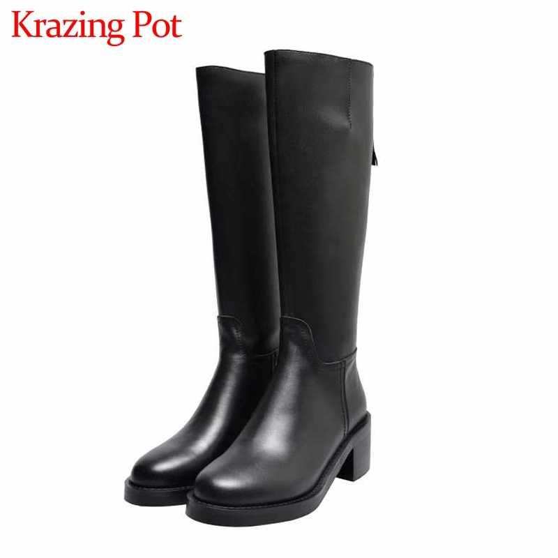 Krazing Nồi phong cách đơn giản Khóa Kéo hiệp sĩ Ủng tròn Giày cao gót mùa đông giữ ấm thời trang nữ màu đen đầu gối cao cấp giày L85