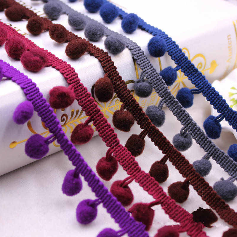 5 ярдов аксессуары для шитья помпон Отделка Пом с помпоном-кисточкой тесьма кисточка лента с бахромой с шариками кружевная ткань для творчества материал ремесла